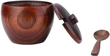 Broco 1pc sólido Jarra de Madera Especia pote de aderezo Azucarero con cuchara y tapa de herramienta de la cocina