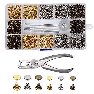 Remaches de Cuero 240 piezas Remache de Doble Tapa 2 Tamaños con Kit de Herramienta de Fijación para Artesanía de Cuero Reparación de Decoración 3 Color