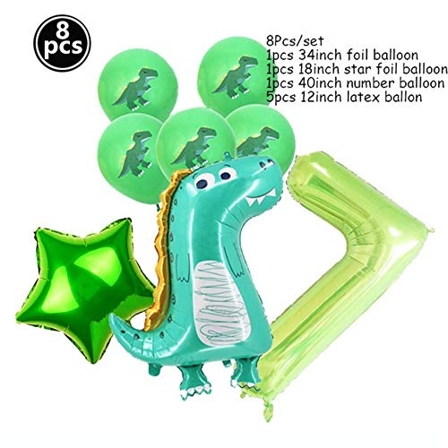 chenn 8PCS Niños NIÑOS Baby Shower Foil Ball Toy Standing Dinosaur Balloons Birthday Decor Party Supplies, Verde 7
