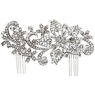Unik Occasions Large Floral Rhinestone Crystal Wedding Hair Comb