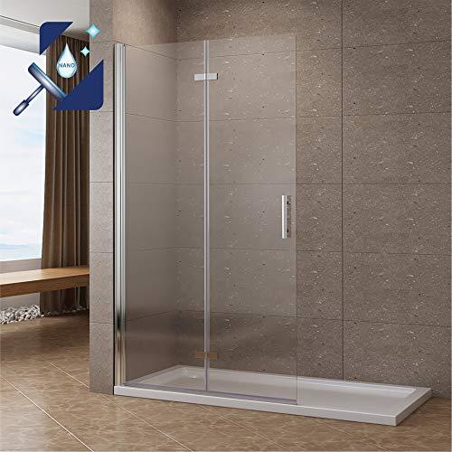 AQUABATOS® 115 x 195 cm Duschabtrennung Faltbar Walk-IN Klappbare Duschwand Glas Duschtrennwand Pendeltür Duschtür aus 6 mm ESG Glas mit Nano Beschichtung