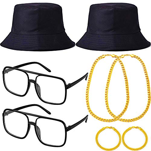 90s Run Dmc Costume 80s Costumes Set for men,Black Bucket Hat Gold Party Chains,Bracelet and DJ Sunglasses 90s Costume Glasses for Birthday Favors,Mens 80s Party and Hip Hop Rapper Theme (black)