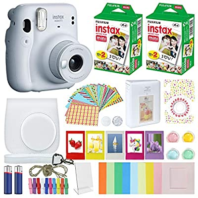 Fujifilm Instax Mini 11 Instant Camera Ice White + Carrying Case + Fuji Instax Film Value Pack (40 Sheets) Accessories Bundle, Color Filters, Photo Album, Assorted Frames… from FUJIFILM