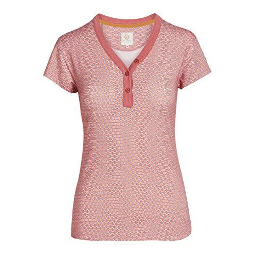 PiP Studio Damen T-Shirt Kurzarm Pyjama Oberteil Shirt Teca Short Sleeve Marquise 51.512, Farbe:Rosa, Wäschegröße:L, Artikel:-Marquise pink