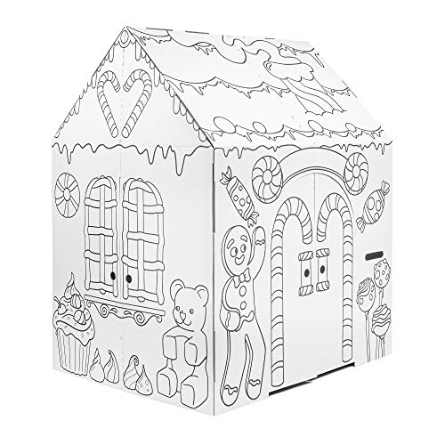 Easy Playhouse Gingerbread House - Kids Art & Craft for Indoor Fun, Color Favorite Holiday Sweets & Winter Friends– Decorate & Personalize a Cardboard Fort, 32' X 26. 5' X 40. 5' - Made in USA, Age 3+