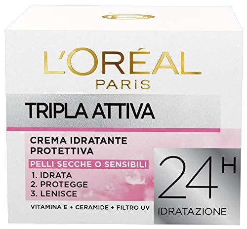 L Oréal Paris Crema Idratante Viso per Pelli Secche e Sensibili Tripla Attiva, Idrata, Protegge e Lenisce, 50 ml, Confezione da 1