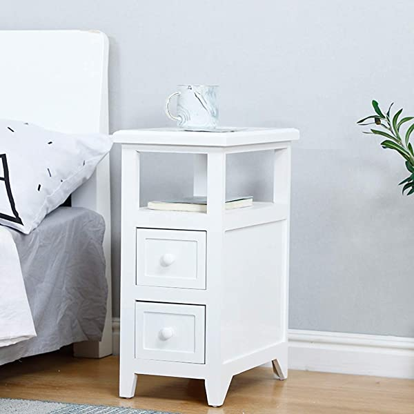 ZDNALS White Bedside Table Nightstand Unit Cabinet With 2 Drawers PremiumSolid Wood Legs Living Room Bedroom Furniture Bedside Table Color White