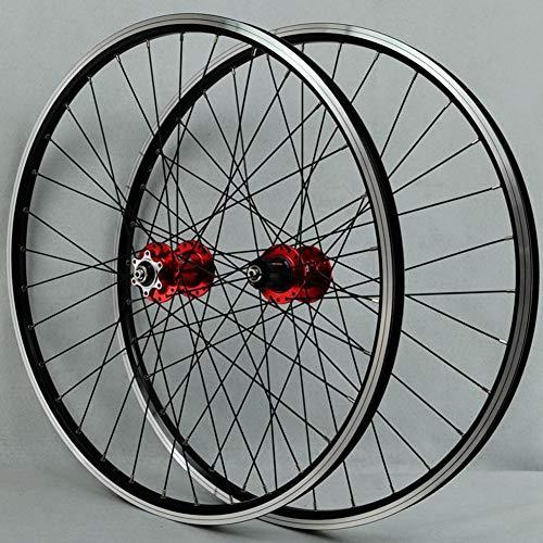 Juego de ruedas MTB Llanta de bicicleta de 26 pulgadas 32 Spoke Mountain Rueda delantera y trasera de bicicleta Disco / Llanta Cassette de freno de 7-11 velocidades Cubos de rodamientos sellados QR,B