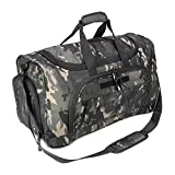 X&X Gym Bag With Shoe Compartment, Large Duffel Waterproof Fitnees Bag, Weekender Black Camo Molle System Workout Bag