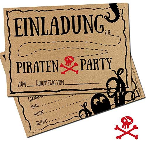bigdaygraphix Einladungskarten 12er Set zum Kindergeburtstag Pirat Karten Kinder Geburtstag-Einladungen Piraten Feier Mädchen Junge verschiedene Designs (Kraftpapier)