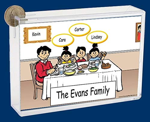 Personalized NTT Cartoon Caricature Bank: Family Dinner Single Dad 1 boy