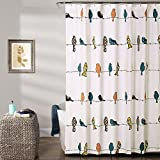"Lush Decor Rowley Shower Curtain-Floral Animal Bird Print Design for Bathroom, x 72"", Multicolor, King"