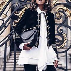 Women Plus Size Coats, Women Ladies Fashion Retro Steampunk Gothic Military Coat Jacket Top Cardigan, forJacket Womens Winter Sale (Black-M) #4