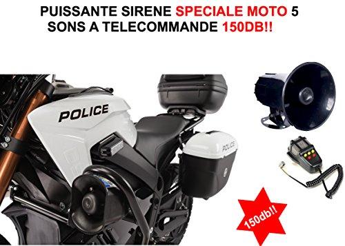 Sirene ELECTRONIQUE Speciale Moto 12V 5Sons + Megafon. Raid Preparation 4x 4,3LEDs für den  Auspuff