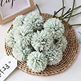 Artificial Flowers Chrysanthemum Ball Flowers Bouquet 10pcs Present for Important People Glorious Moral for Home Office Coffee House Parties and Wedding(Light Green)