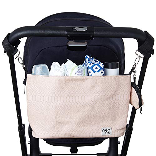 Stylish Stroller Organizer with Cup Holders and Detachable Pacifier Holder Case- Stroller Caddy Holds Mother's Care Products- Blush Crocodile