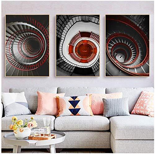Impresiones en lienzo nórdico Escaleras rojas Cuadro Decoración para el hogar Arte de la pared Carteles abstractos modernos Pintura e impresiones para sala de estar Hotel (50x70 cmx3 sin marco)