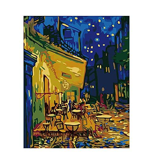 Pintar por Numeros para Adultos Niños Van Gogh Painting-Coffee House DIY Pintura al oleo con Pinceles y Pinturas Decoraciones para el Hogar 16 * 20 Pulgadas / 40x50 cm Sin Marco