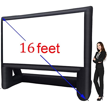 24FT Inflatable Mega Movie Screen Outdoor Blower NOT Include Front and Rear Projection Easy to Set Up Portable Blow Up Projector Screen for Grand Parties