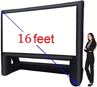16' Inflatable Outdoor Projector Movie Screen - Package with Rope, Blower + Tent Stakes - Great For Outdoor Backyard Pool Fun (16 feet)