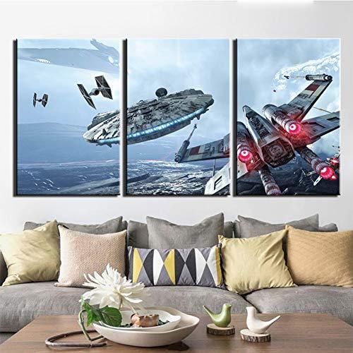 KDSFHLL 3 dekorative Gemälde 3 Stück Leinwand Foto Drucke Star Wars Millennium Falcon Wand Dekorationen Wand Kunst Bild Leinwand Wand Gemälde (kein Rahmen)
