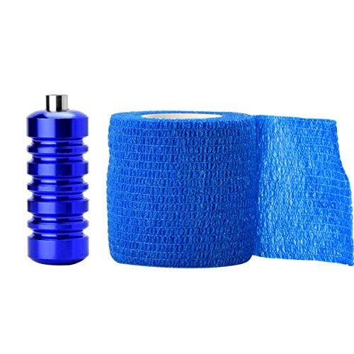 Milisten 1 Set Tattoo Tip Grip Self Adhesive Elastic Bandage Rolls For Tattoo Machine Accessories (Blue)