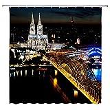 N\A Köln Deutschland Urban Night Scene Dekor Schwarz Duschvorhang Dom Hohenzollern Brücke Rhein Brilliant City Light Wasserdichter Polyester Stoff Badvorhänge mit Haken