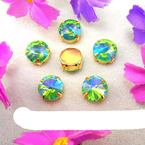 Colors Gold Claw Settings 7 Sizes Rivoli Round Shape Glass Crystal Sew on Rhinestone Beads Wedding Dress Accessories diy-A14 Peridot,12mm 20pcs