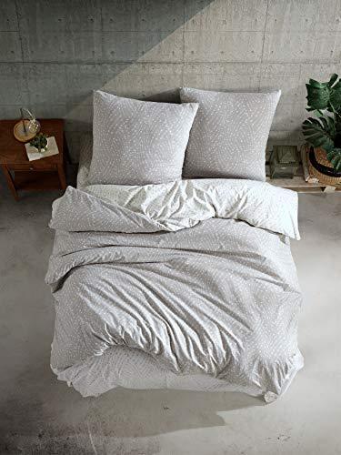 ZIRVEHOME Biancheria da letto 240 x 220 cm, grigio/bianco, a pois, 100% cotone renforcé con chiusura lampo, traspirante, 3 pezzi, set copripiumino reversibile con 2 federe 80 x 80 cm, Parma