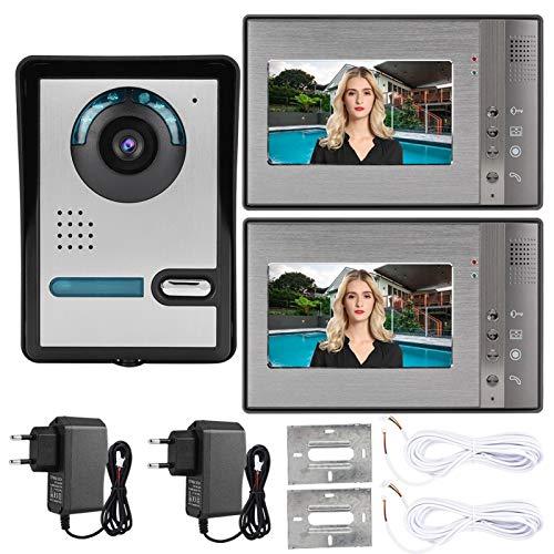 Teléfono con Video de la Puerta del Equipo del Timbre de la visión Nocturna del IR del Panel de Aluminio de 7-Inch TFT LCD, para el hogar(European Standard (110v-240v), Transl)