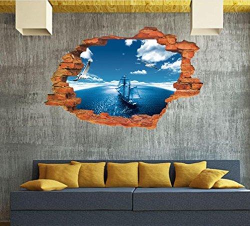 wandaufkleber wandtattoos Ronamick 3D Boden / Wandaufkleber Removable Decals Vinyl Art Wohnzimmer Dekore Wandtattoo Wandaufkleber Sticker Wanddeko (25)