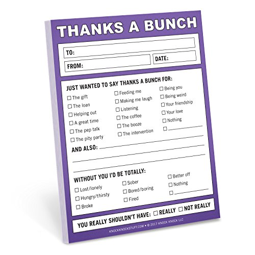 Knock Knock Thanks a Bunch Nifty Note, Checklist Memo Pad, 4 x 5.25-inches
