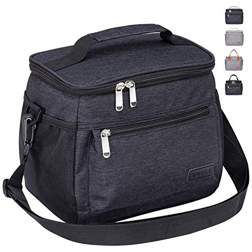 TOMULE Insulated Lunch Bag Reusable Cooler Tote Bag, Soft Freezable Lunch Box Holder, Durable Portable Leakproof Thermal Lunch Container for Women Men Kid Office Work School Picnic Travel Beach, BLACK