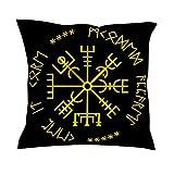 CCMugshop - Funda de cojín para sofá o Regalo, diseño de runas escandinavas, Blanco, 45 x 45 cm