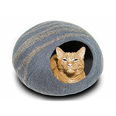 Meowfia Premium Felt Cat Bed Cave (Medium) - Handmade 100% Merino Wool Bed - Perfect Gift For Cats and Kittens (Slate Grey/Medium)