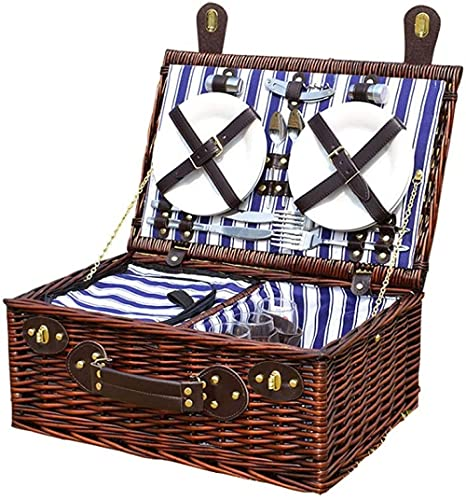 chaozhi Bolsa de Picnic para Acampar al Aire Libre Juego de Cesta de Picnic Durable Willow Cesta de Picnic portátil, para Acampar al Aire Libre Fiesta de cumpleaños