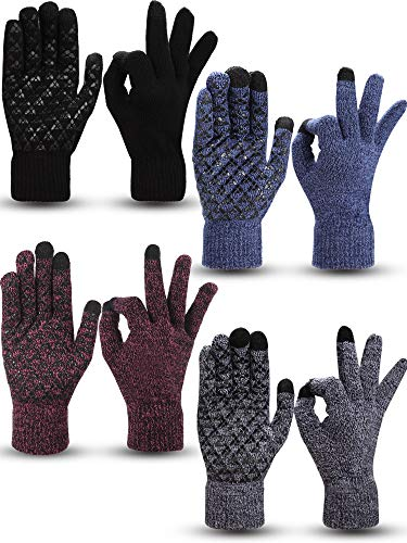 4 Pairs Winter Knit Touchscreen Gloves Warm Texting Gloves Elastic Anti-slip Gloves for Adults (Black, Black Red, Black White, Navy, M)