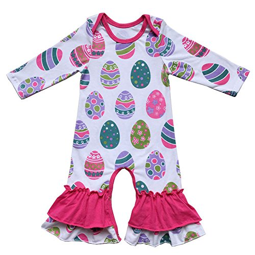 Baby Girls Cotton Icing Ruffle Jumpsuit Pants Happy Easter Bunny Egg Print Long Sleeve Floral...