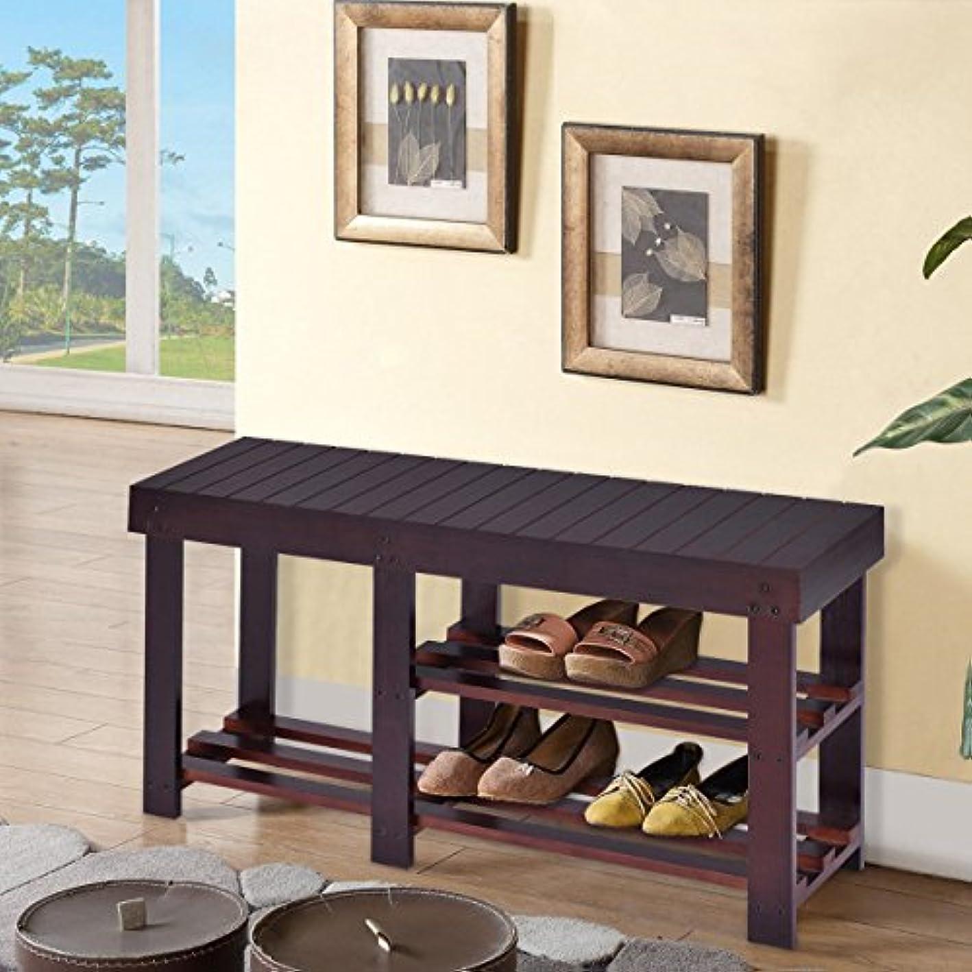 Wooden Shoe Bench Boot Storage Shelf Organizer Seat Entryway Hallway Espresso