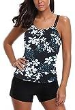 AYEEBOOY Frauen Plus Size Floral Halfter Tankini Set mit Boyshort zweiteiligen Badeanzug(3BluePHP,EU (40-42))