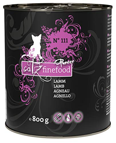 catz finefood Purrrr Lamm Monoprotein Katzenfutter nass N° 111, für ernährungssensible Katzen, 70% Fleischanteil, 6 x 800 g Dose