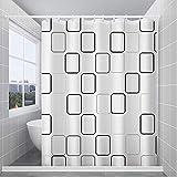 Duschvorhang,Anti-Schimmel Wasserdichter Duschvorhäng aus Polyester duschvorhang Anker Anti-Bakteriell Stoff Badewanne Vorhang mit 12 Duschvorhängeringen,180x200cm