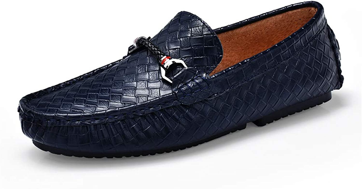 JIALUN-shoes Men's Personality Driving Loafers Casual Braid Solid British Style Comfortable Genuine Leather Boat Moccasins