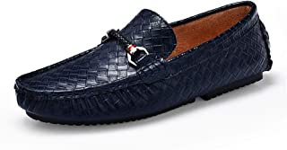 QinMei Zhou Men's Driving Loafers Casual Braid Solid British Style Comfortable Genuine Leather Boat Moccasins (Color : Blue, Size : 7 UK)