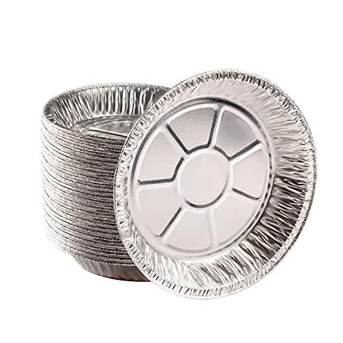 """Premium 9"""" Aluminum Foil Pie Pans. Disposable Tin Plates for Pies Tart Quiche. (Pack of 50)"""