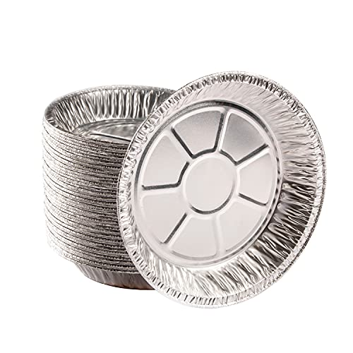 NoCry Premium Disposable 9 Inch Aluminum Pie Pans; Round Foil Baking Tins for Delicious Pies, a Crispy Pie Crust, or Delectable Tart, Quiche, Flan or Cake (Pack of 50)