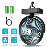 Best Camping Fans - BRIGENIUS Camping Fan with LED Lights, Rechargeable 4400mAh Review