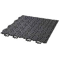 Andiamo 202404 - Set de baldosas de plástico para suelo, 38 x 38 cm, 7 unidades, 1 m², color negro