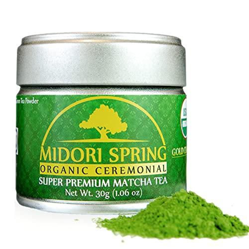 Midori Spring Polvo de Matcha para bebidas, repostería y té Oro Ceremonial 30g