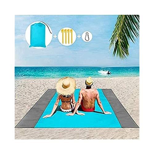 Plztou Manta de Picnic Impermeable, Lavable Grande Esterilla for la Playa con el Forro Impermeable, sandproof Carpa Plegable al Aire Libre de la Alfombra Alfombra for el jardín (Color : Blue)